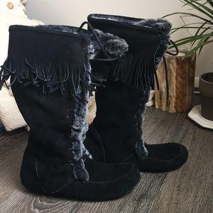 MINNETONKA fur lace-up tall knee high boot